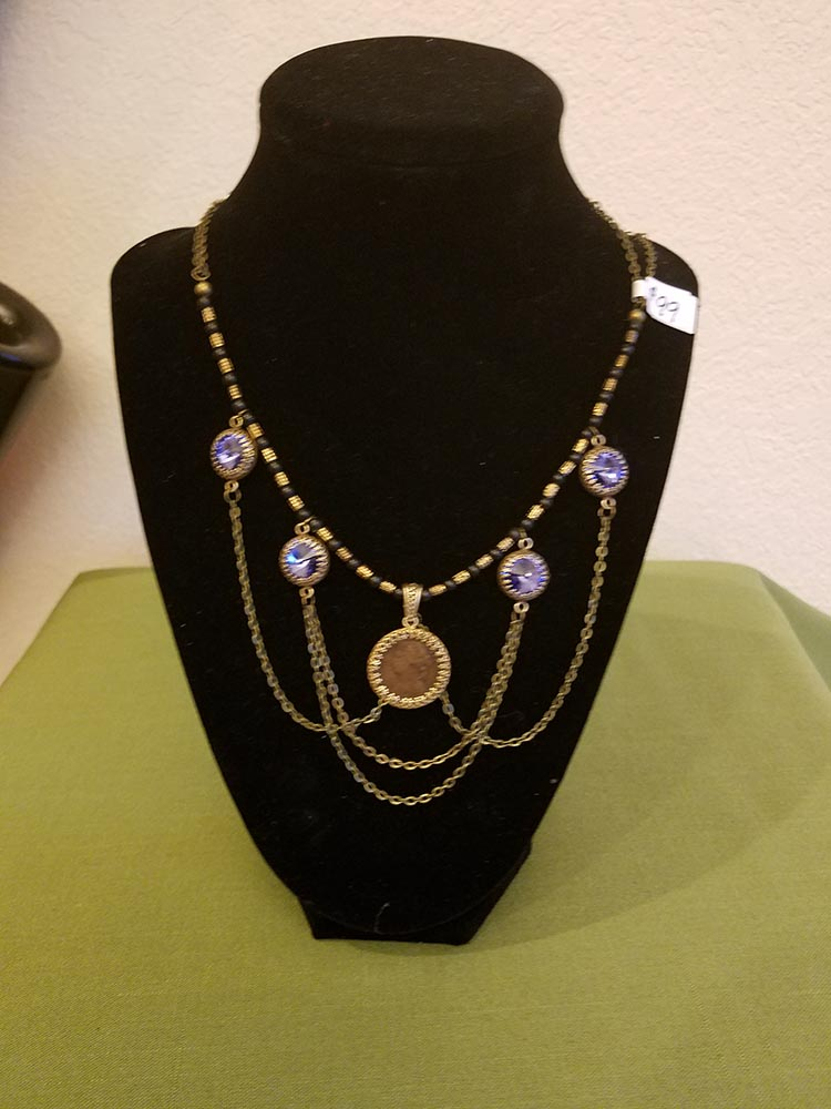 Necklace with Victorian farthing and tanzanite colored Swarovski crystals