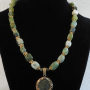 Serpentine Green Necklace with Roman Coin