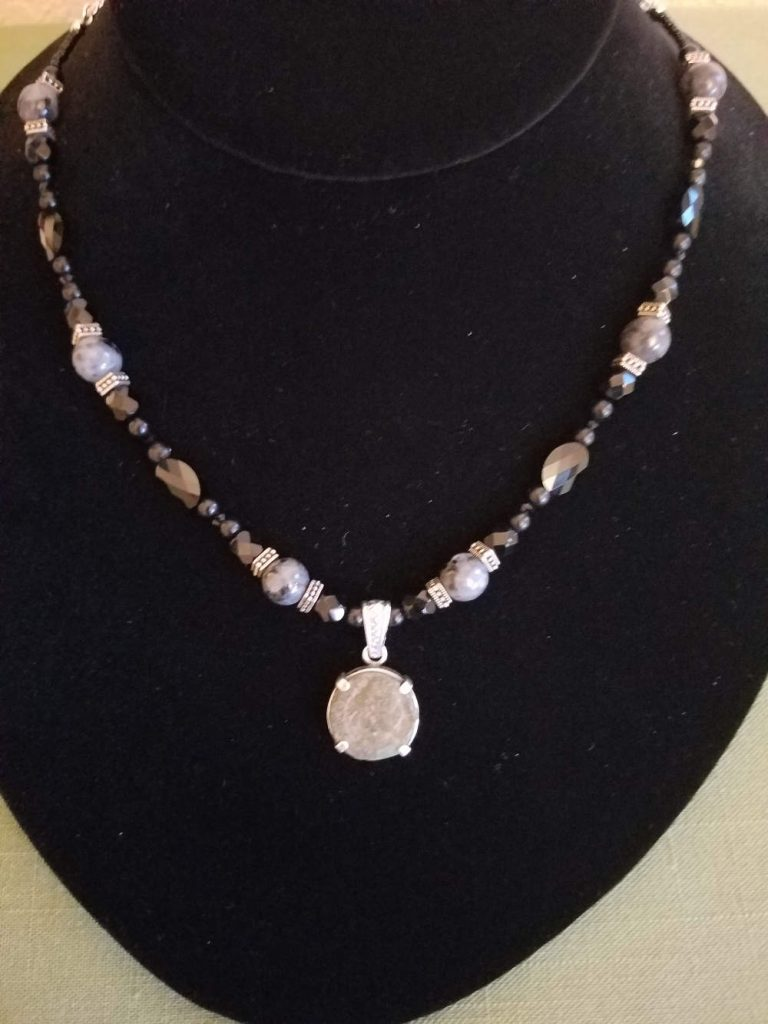 Roman coin with labradorite and black Czech beads necklace