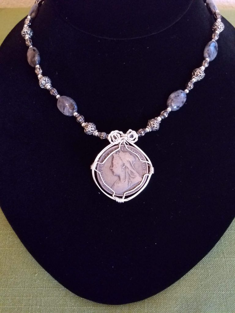 Victorian Penny wire wrapped with Silver Beads Necklace