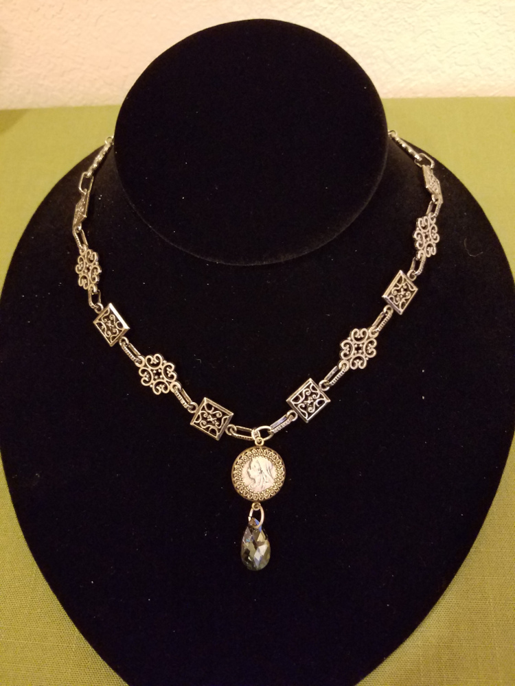 Victorian Threepence on Silver Decorative Chain Necklace