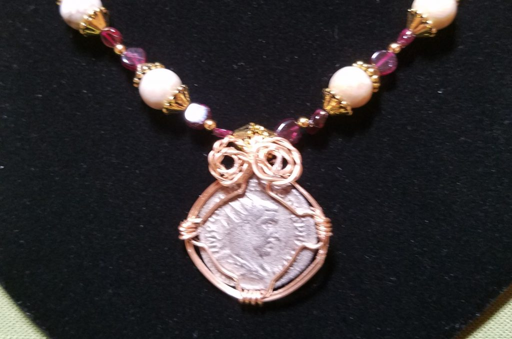 Silver Roman coin wire wrapped in in gold finish copper
