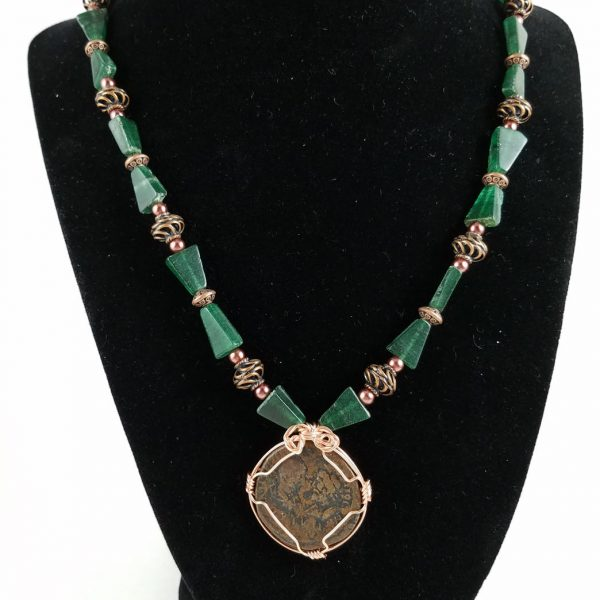 Roman Coin Necklace with Copper and Green Aventurine