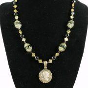 Roman denarius necklace with green glass beads