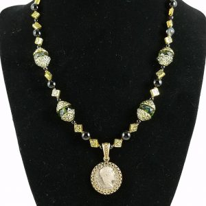 Roman denarius necklace with green glass beads