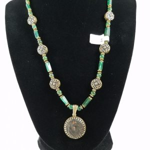 Necklace with Roman coin of Claudius I with aventurine
